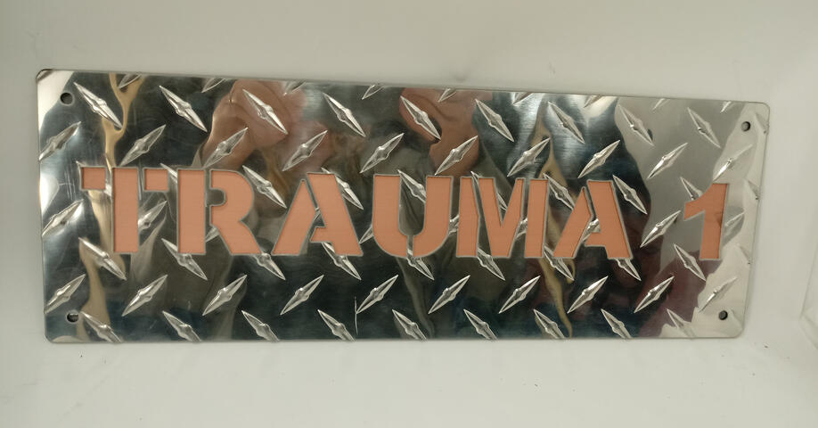 Aluminum Diamond Plate Name sign over Copper clad material