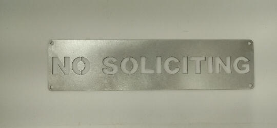 Stainless Steel No soliciting sign
