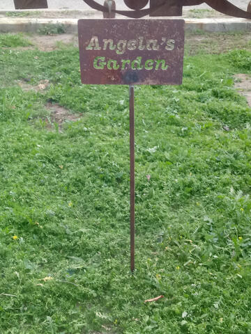 Garden sign on a stake