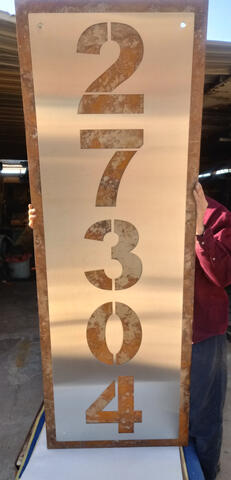 Stainless steel over rusted steel address sign (jumbo)